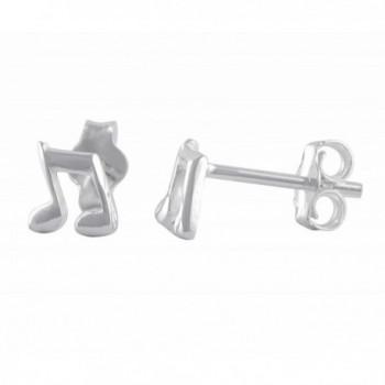 Sterling Silver Music Note Stud Earrings - 6mm - C3184S2MK75