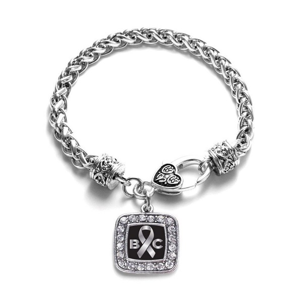 Brain Cancer Awareness Classic Silver Plated Square Crystal Charm Bracelet - C811K6OBJR5