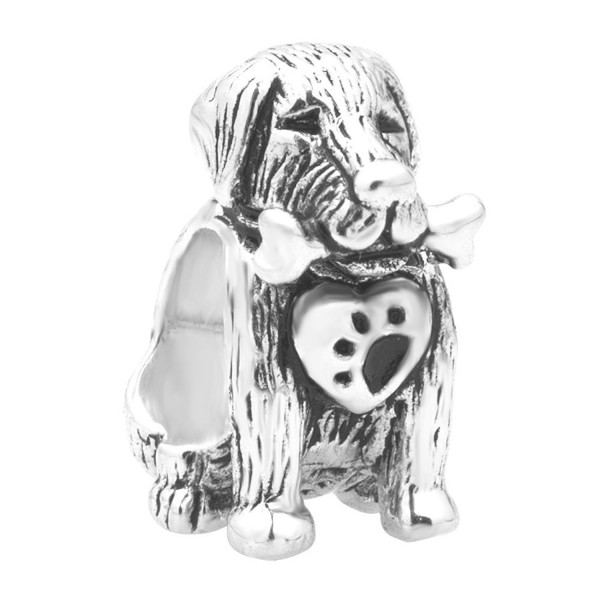 Q&Locket 925 Sterling Silver Heart Love Dog Charms For Bracelet - C7182DGAQOO