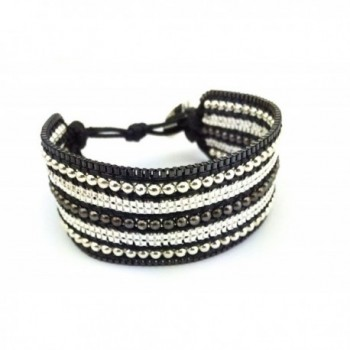 "Gingerbird Jewelry ""Chunky Cuff Black"" Handmade Women's Cuff Beaded Bracelet - CL11XO807C3"