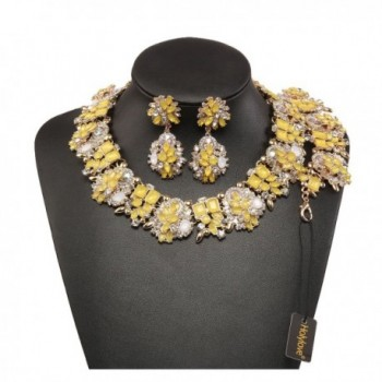 Holylove Statement Necklace Bracelet Yellow 8041BE - Yellow-8041BE Yellow Set - CZ189ZRHU2Y
