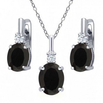4.97 Ct Oval Black Onyx White Topaz 925 Sterling Silver Pendant Earrings Set with 18 Inch Silver Chain - CX126E7F207