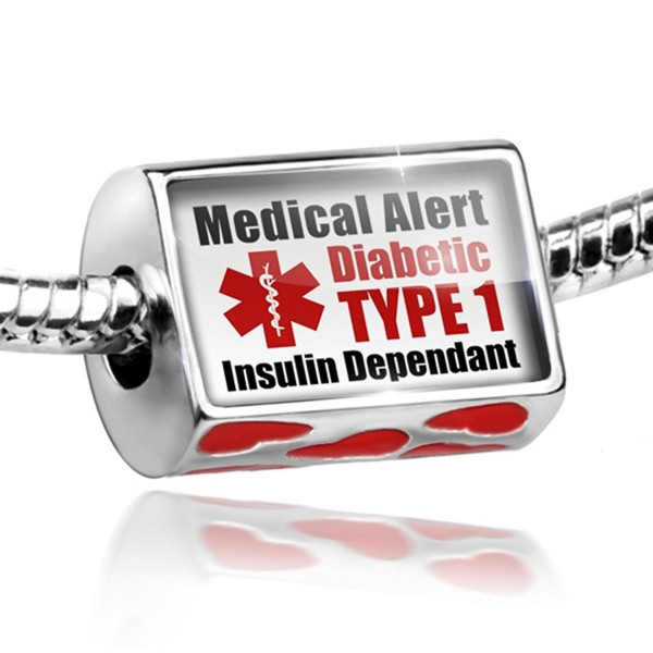 Bead with Hearts Medical Alert Red Diabetic Insulin Dependant TYPE 1 - Charm Fi - C811EF15AJ7