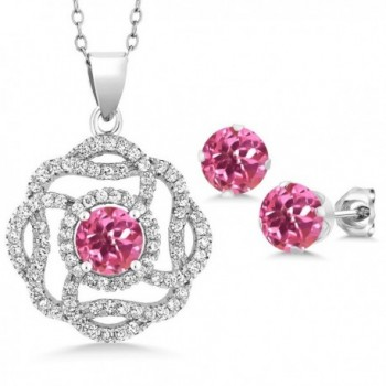 5.06 Ct Round Pink Mystic Topaz 925 Sterling Silver Pendant Earrings Set - CR1882UE4ZZ