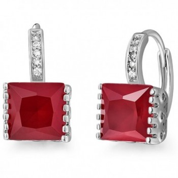 GULICX Princess Cut Square Zircon Stone Leverback Red Huggie Earrings Hoops White Gold Electroplated - CF1218S1NS7