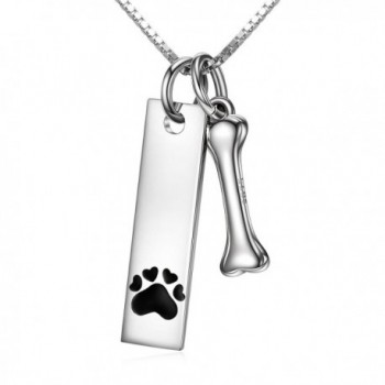 Sterling Silver Two Tone Charms Dog Paw and Bone Pendant Necklace Engraved Always in My Heart - CC18447XED3
