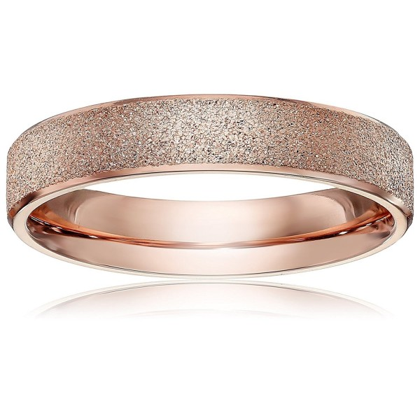 LOVE Beauties Brand New 4mm Women's Titanium Rose Gold Wedding Band Ring (Size Selectable) - C711D69P293