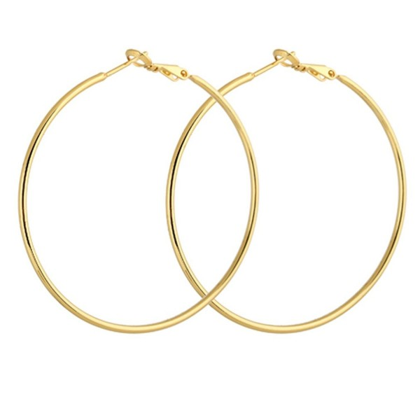 YAZILIND Circle Polished Shiny 18k Gold Plated Extra Large Omega Back Hoop Earrings 50mm Diameter - CF11MPNPD95
