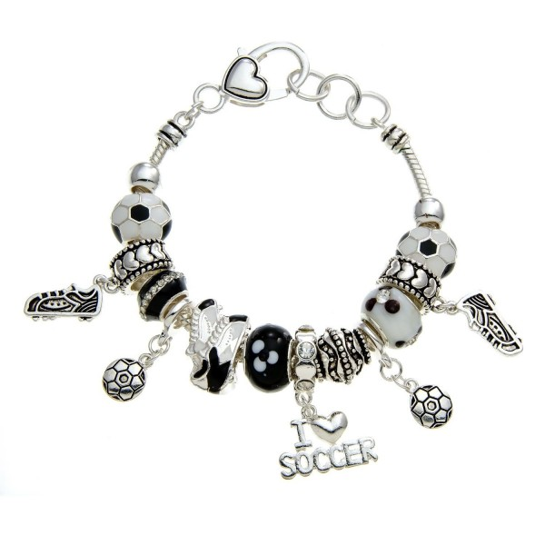 PammyJ Black and White Silvertone Soccer Theme Bead Charm Bracelet - CC11O66NJW7