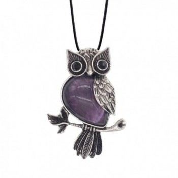 Zhepin Owl Necklace Natural Healing Stone Spiritual Energy for Women and Men Pendant Necklace - Amethyst - CQ1879GOG42