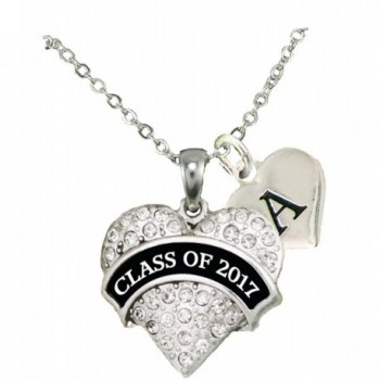 Custom Class of 2017 Graduation Gift Silver Necklace Jewelry Choose Initial - C112MYCC5A9