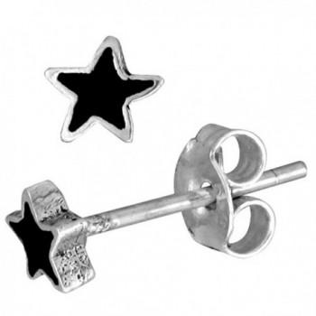 Tiny Sterling Silver Black Enamel Star Stud Earrings- 3/16 inch - C4115M7FQ2Z