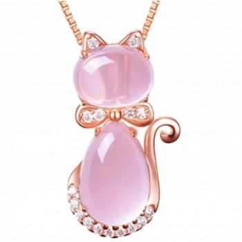 Cat Pendant Lotus Stone Rose Gold Plated Necklace - C8189XNUT6I