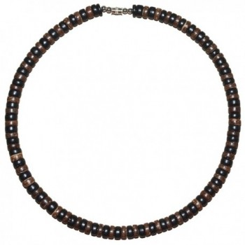 "Native Treasure - 18"" Black and Brown Wood Coco Bead Necklace - 8mm (5/16"") - CE1198KCNWD"