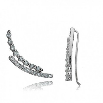 Sterling Silver Cubic Zirconia Double Curve Crawler Climber Hook Earrings - Sterling Silver - CH12KLE0XZN