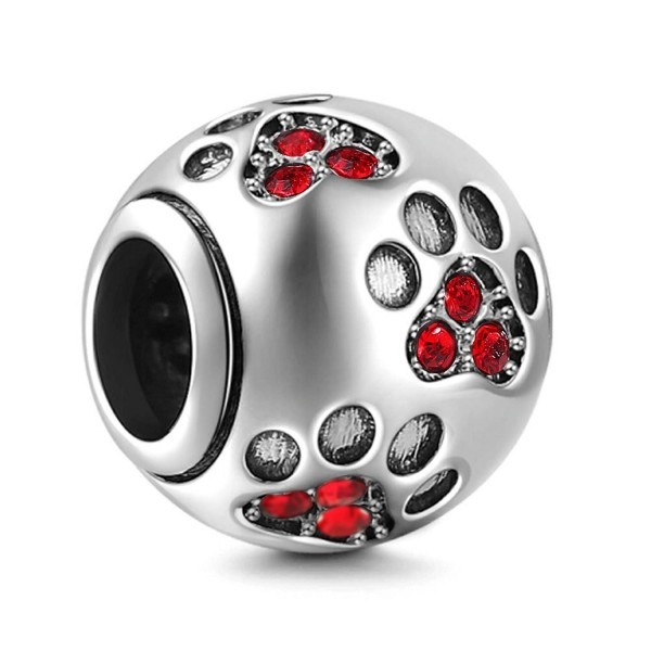 Dog Paw Print Charms 925 Sterling Silver Animal Birthstone Crystal Charms for 3mm Snake Chain Bracelets - Red - CF185DT77X4