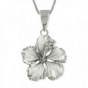 """Sterling Silver 17mm Hibiscus Pendant Necklace- 16+2"""" Extender - CM1152JORY1"""
