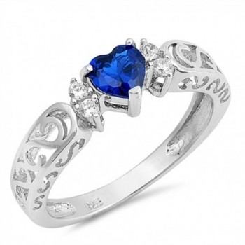 Sterling Silver Heart Promise Ring - Blue Simulated Sapphire - CJ12O0WO2A7