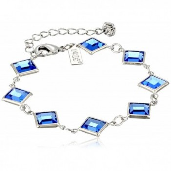 1928 Jewelry Silver-Tone Blue Genuine Swarovski Crystal Adjustable Link Bracelet - CO11NHGS8UF
