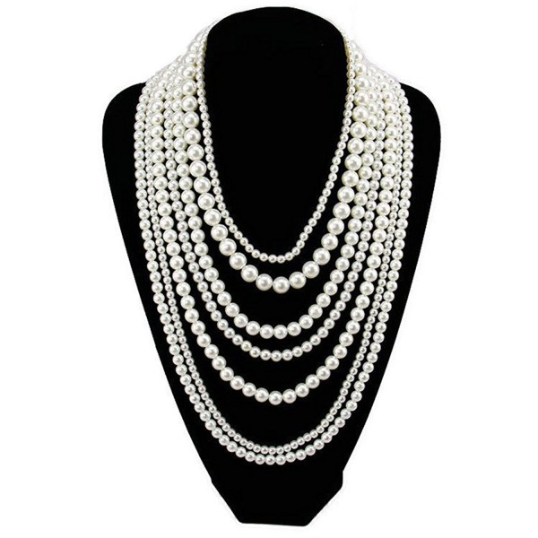 Multi Bling Long Multilayers Pearl Statement Choker Party Necklace - CB12EGGFZ7N