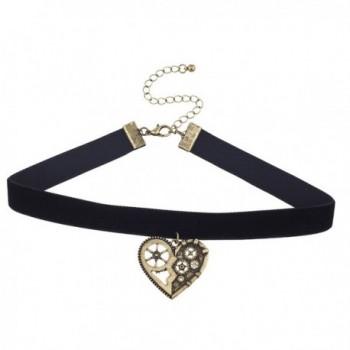 Lux Accessories Black Velvet Burnished Gold Tone Steampunk Gear Heart Choker - CY182LDZMRD