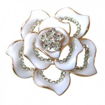 Navachi 18k Gold Plated Clear Crystal White Enamel Flower Az7433b Brooch Pin - CD11VYO5OV3