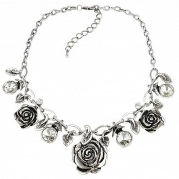 Rose and Leaf Statement Necklace - Silver Tone - C01285IQLAH