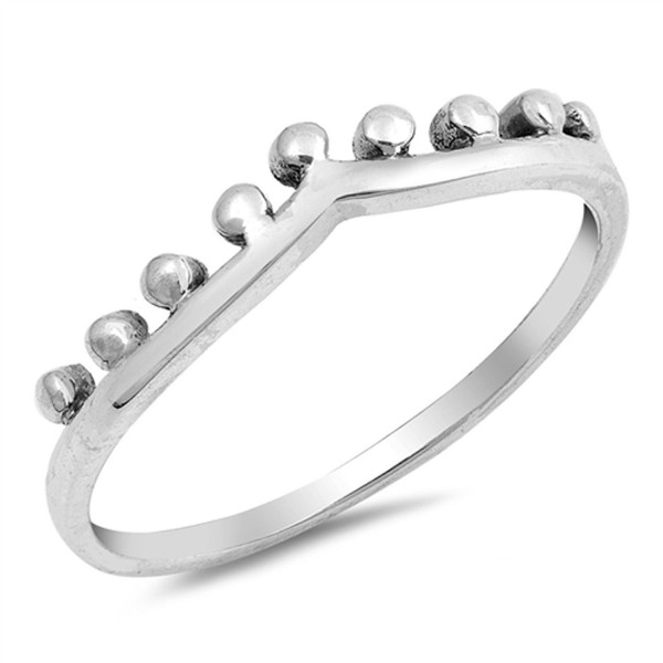 Chevron Crown Tiara Ball Bead Ring New .925 Sterling Silver Band Sizes 4-10 - CQ12NVXNS7P