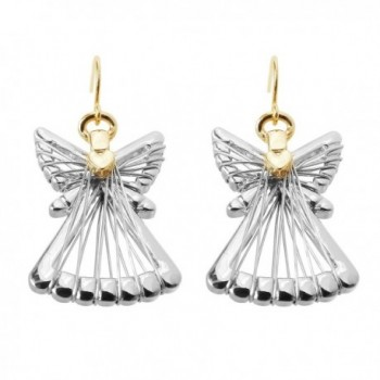 Silver Gold Two Tone Angel Dangle Earrings For Women Girls Christmas Gifts Alloy RareLove - CO187LM3805