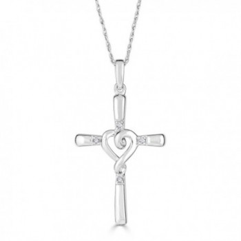 Diamond Cross Necklace with Heart in Rhodium Plated Sterling Silver - CX188ENRU63