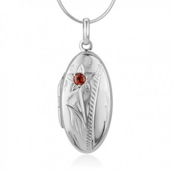 925 Sterling Silver Red Garnet Stone Flower Engraved Oval Shaped Locket Necklace 18 inches - CW12NTIHJLX