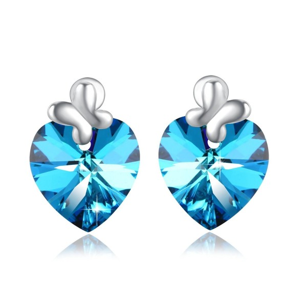 PLATO H Heart of Ocean Bow Tie Stud Earring with Swarovski Crystals Gift for Her - Changing Blue - C412NV5QBSN