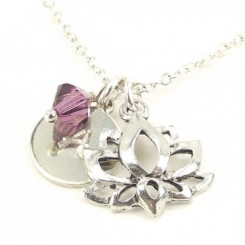 Personalized Lotus Initial Necklace with Swarovski Crystal Silver Plated Chain Yoga jewelry birthday Gift - CX12HSBQWUR