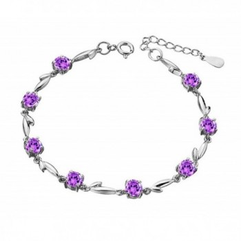 Sterling Silver Purple Leaf & Flower Link Chain Bracelet For Women- Girls - C71878EHYEU