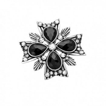 Rosemarie Collections Women's Crystal Gemstone Accent Flower Brooch Pin - Jet Black - CJ128NJHXJR