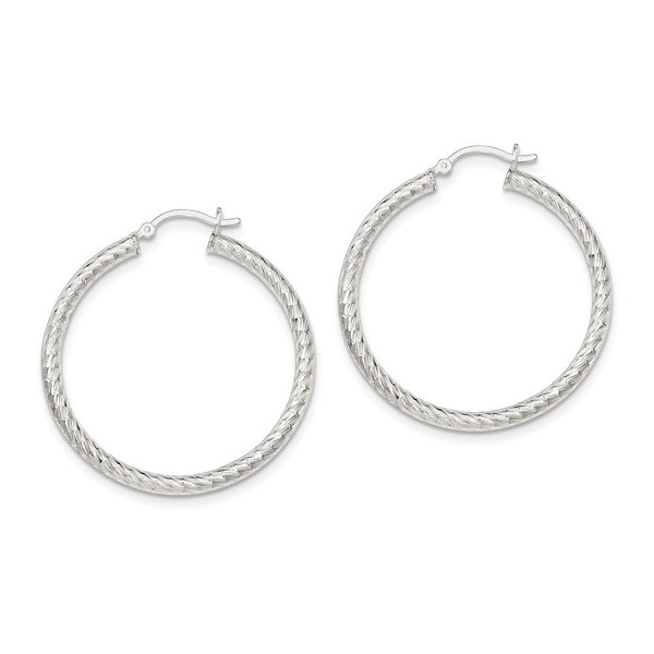 Sterling Silver Polished Diamond-cut Hinged Hoop Earrings - 26 to 42 mm - C317YUXCO0I