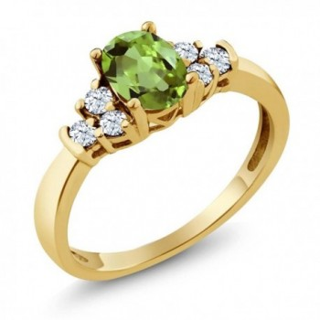 0.82 Ct Oval Green Peridot White Topaz 18K Yellow Gold Plated Silver Ring - C9120SC7KPT