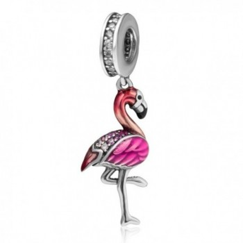 Christmas Flamingo Charms 925 Sterling Silver Animal Charm with CZ Stone for European Style Bracelet - CU18653GRZO