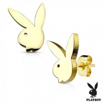 Playboy Bunny Gold IP OVER 316L Stainless Steel Stud Earrings - C017AYXX4YX