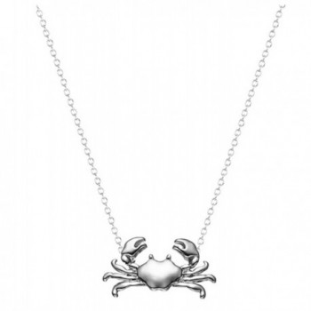 Crab Pendant Necklace Ocean Jewelry 18K Gold White Gold Plated for Women Girl Teen Nautical 18in Chain - Silver - C617Z3MS8KZ