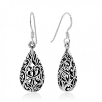 925 Sterling Silver Bali Inspired Open Filigree Puffed Teardrop 1 inch Dangle Hook Earrings - C111O1WV1BH