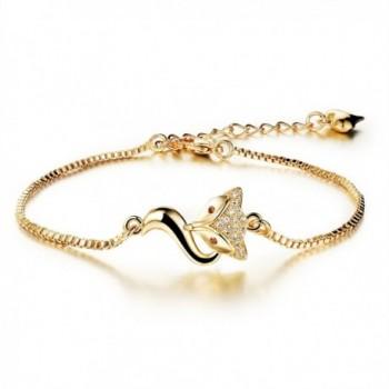 """18K Gold Tone Titanium Steel Lucky Fox Bracelet for Women L6.27+1.7"""" - C11207GIOVZ"""