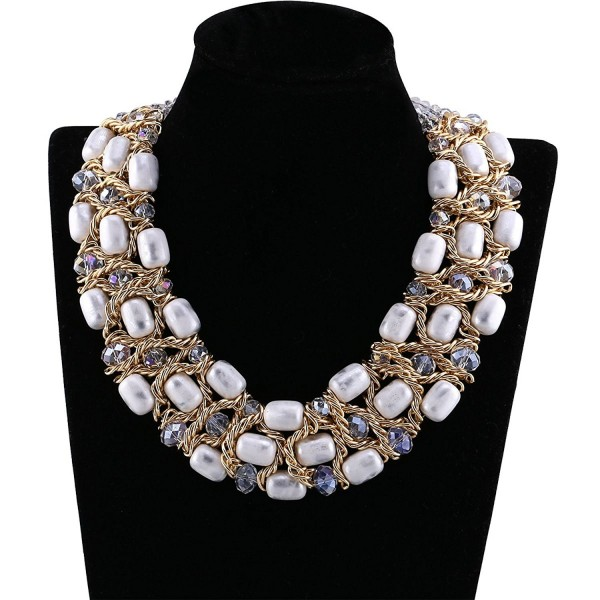 Luxury Gold Plated White Resin Weaving Crystal Necklace- Chokers- Statement- Bib Necklace - CX120TS27OV