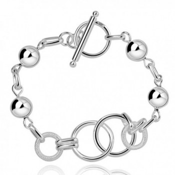 MaiJin 925 Silver Plated Chain Link Bracelet Fashion Jewelry for Women - C21887RED65