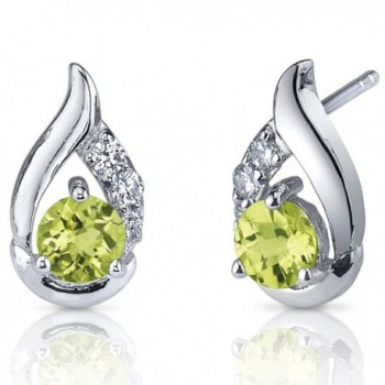 Peridot Earrings Sterling Silver Rhodium Nickel Finish 1.00 Carats CZ Accent - C0116LWINV1
