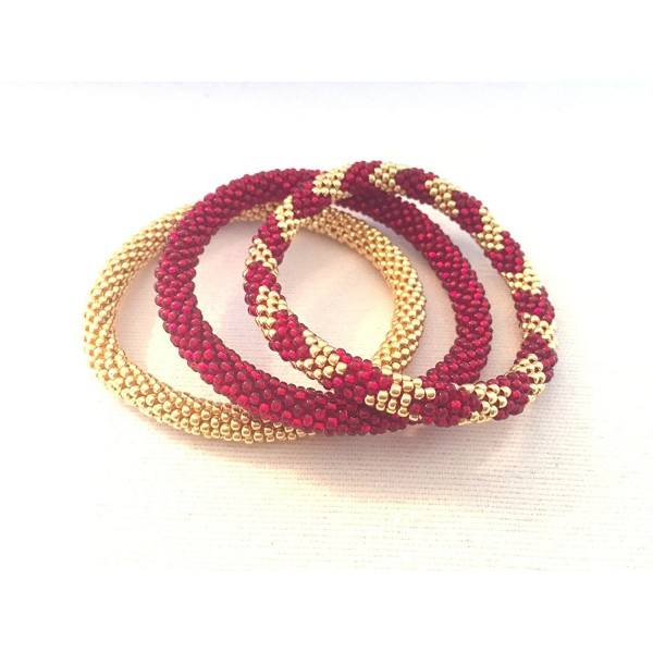 Galvanised Gold and Dark Ruby Red Handmade Crocheted Bracelets Set- Japanese -Nepal- Handmade - C0129QSNARH