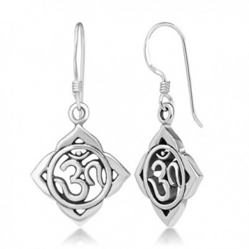 925 Sterling Silver Aum Om Ohm Lotus Leaf Symbol Chakra Yoga Dangle Hook Earrings- 33 mm - C211ASVKNIB