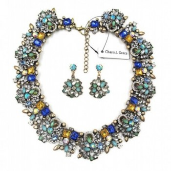 Charm.L Grace Jewelry Vintage Alloy Flowers Collar Necklace Earrings Set - C511NP1EVM1