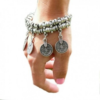 SUNSCSC Silver Plated Coin Drop Belly Bracelet Dance Bangle Ethnic Bohemian Jewelry Anklet Chain Alloy - CE11ZTL09UN