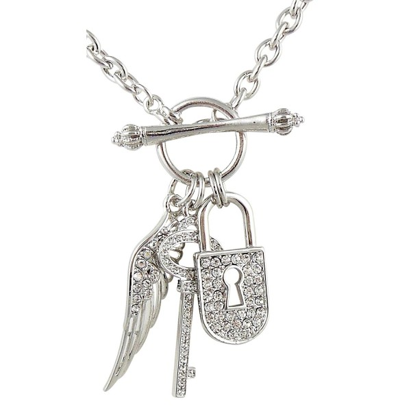 Silver tone Designer Inspired Crystal Padlock Key Angel Wing Charms Toggle Necklace Fashion Jewelry Gift - CL11B2QVV8D